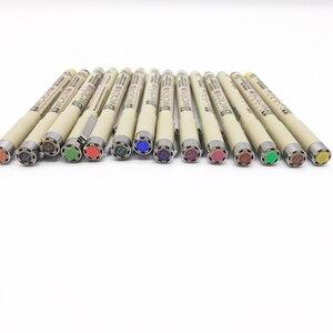 Image 3 - 8/14 renk SAKURA Pigma Micron kalemi kalem 0.25mm 0.45mm renk Fineliner çizim hatları işaretleyici kalem öğrenci sanat malzemeleri