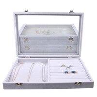 2018 Gray Velvet Glass Jewelry Box Rings Necklaces Storage Display Box Makeup Holder Case Organizer Ear Studs Jewelery Storage