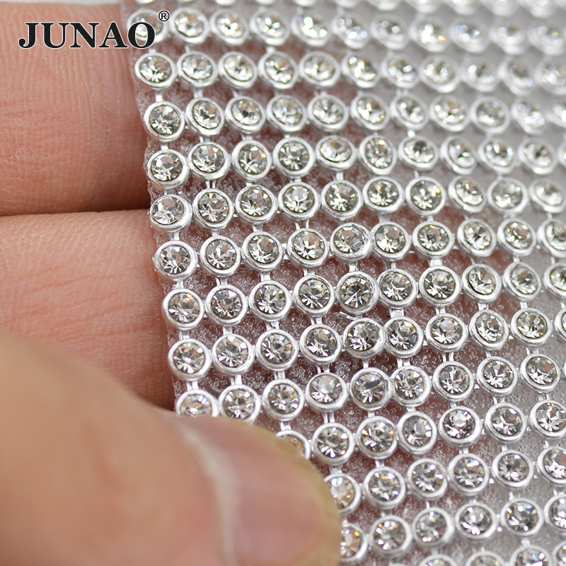 45*120cm Silver Aluminum Mesh Metal Trim Glass Rhinestones Fabric Crystal Strass Band Bridal Appliques For Garment Dress