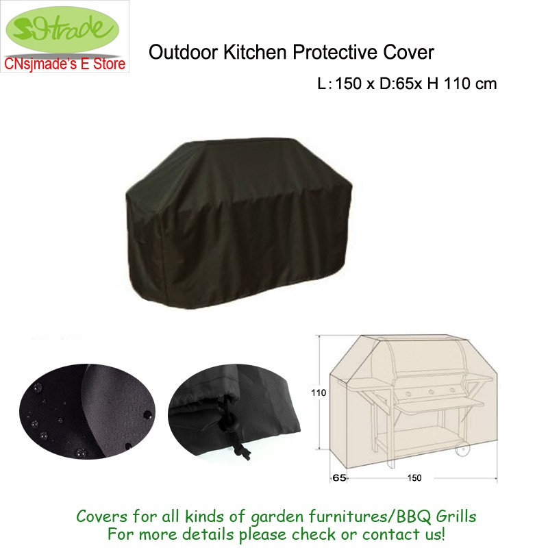 Outdoor küche schutzhülle, 150x65x110 cm, Schwarz farbe Oxford ...