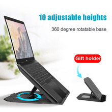 Laptop Cooling Stand, Foldable Notebook Radiator 360 Degree Rotating Cooler Pad 10-Angle Laptop Bracket Phone Holder color coated aluminum alloy laptop stand bracket cooler cooling pad folding portable viewing angle for 10 17inch notebook