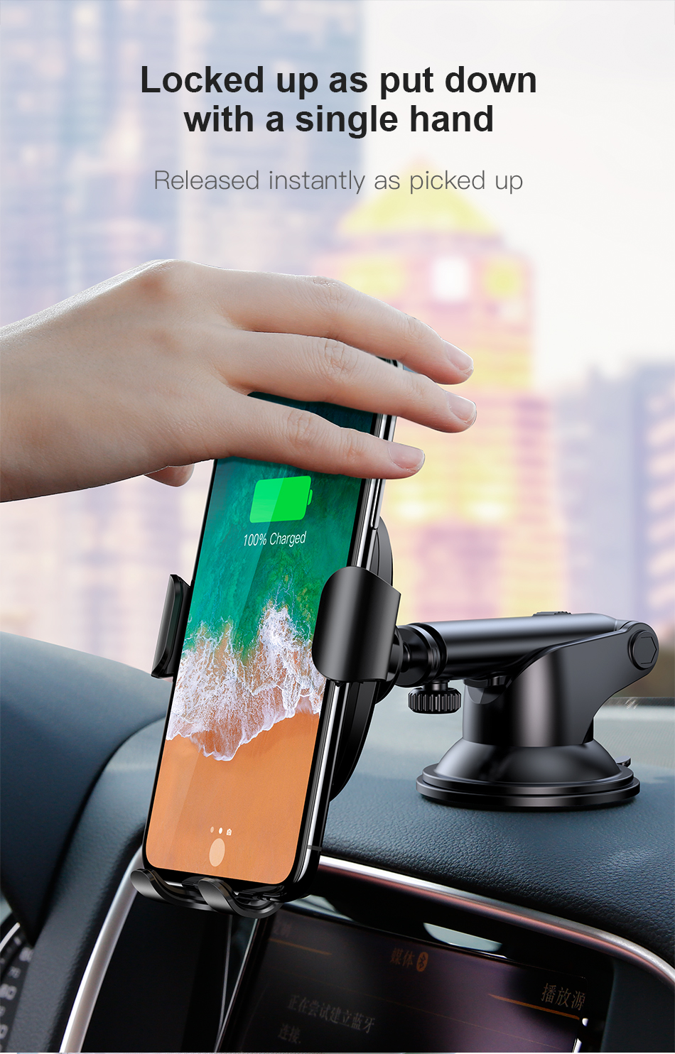 Baseus 2 in1 Qi Wireless Car Charger for iPhone XS Max Samsung S9
