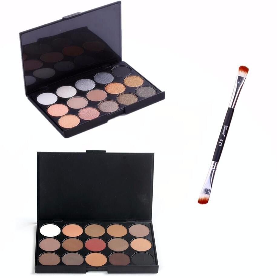 Heißer 15 Farben Matte Pigment Glitter Lidschatten-palette Kosmetik Make-up Schönheit Kit Lidschatten Paletten & Make-up Pinsel
