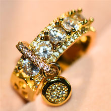 Luxury Female Crystal Zircon Stone Ring Big Cocktail Engagement Ring Unique Style Fashion Silver Gold Wedding Rings For Women(China)