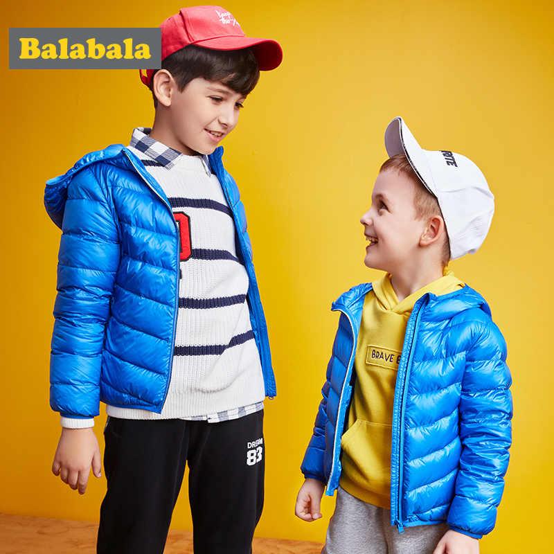 Balabala مقنعين الصبي الفتيات الطفل وزرة الشتاء 90% أسفل سترة دافئة الاطفال معطف الأطفال snowsuit الثلوج الملابس الفتيات الملابس
