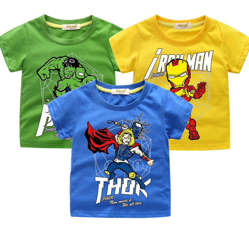 Sommer Jungen <font><b>T</b></font>-<font><b>shirt</b></font> Avengers Marvel Superhero Iron Man Thor Hulk kinder Cartoon Raytheon <font><b>T</b></font>-<font><b>shirt</b></font> Jugendlichen Casual Top <font><b>Baby</b></font> image