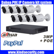 Original English Dahua 8ch waterproof IPC HFW1320S 3MP bullet POE onvif IP camera kit with 8POE