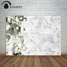 Allenjoy flores blancas en la pared blanca de la vendimia decoración de la boda Fondo de Fondo fond studio foto nuevos fondos fotográficos