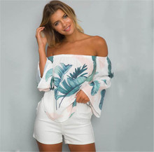 Fashion ladies summer long Flare sleeve Off Shoulder blouses slash neck floral printed backless Casual Loose bloused shirts tops