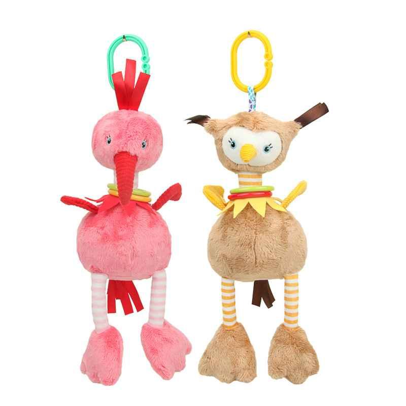 Детские кроватки коляска плюша Фламинго страуса Стиль висит погремушка кольцо колокол Аксессуары для колясок мягкие манеж-кровать коляска...