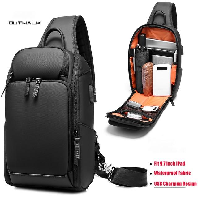 Многофункциональная мужская сумка через плечо с защитой от кражи, мессенджер на ремне с USB портом для мужчин, водонепроницаемый мешочек для коротких поездок