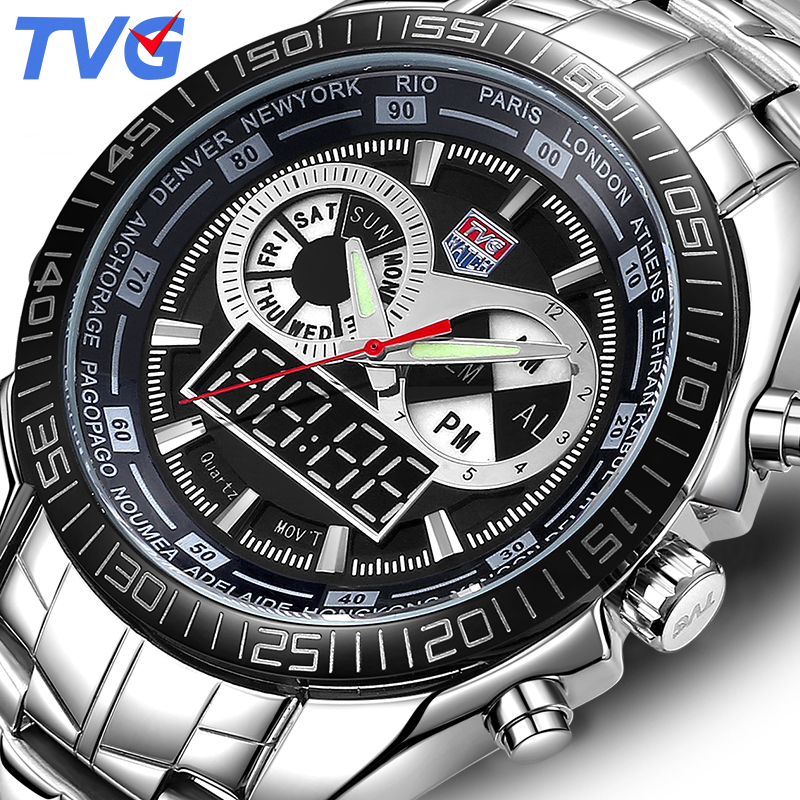 TVG Brand Digital Watch Men Sport Vattentät Quartz Clock Analog Mode Lysande LED Watch Armbandsur Relogio Masculino Xfcs