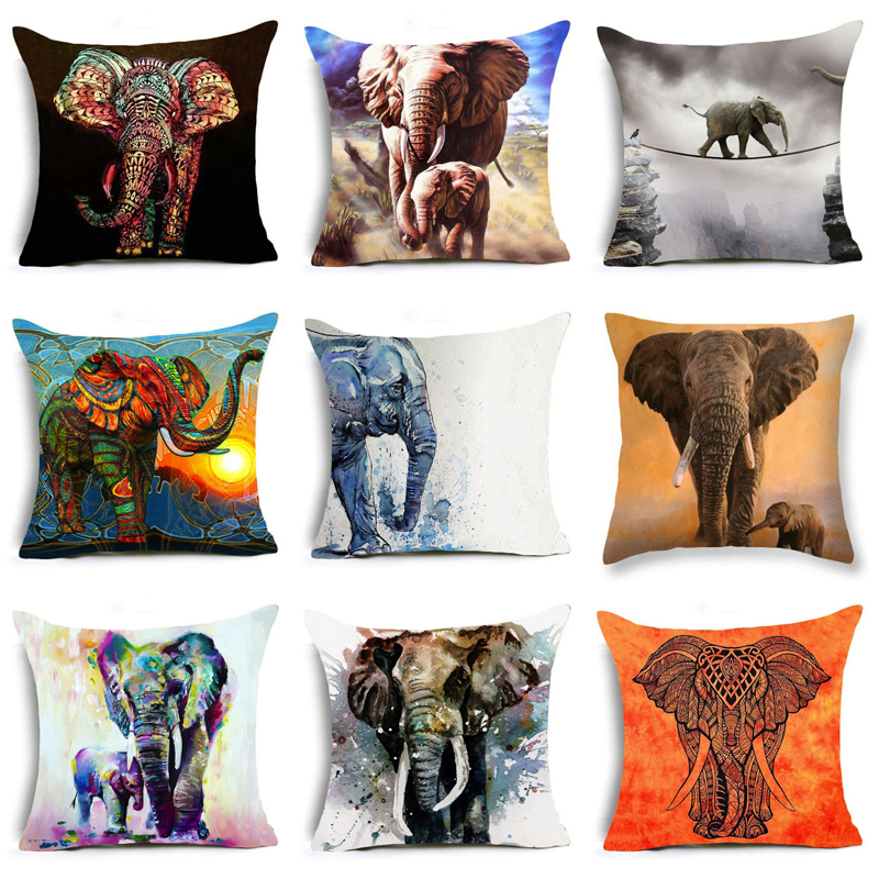 2019 Bohemia Elephant Polyester Cushion Cover Indian Style Affection Animal Home Decorative Pillow Cover For Sofa Pillowcase