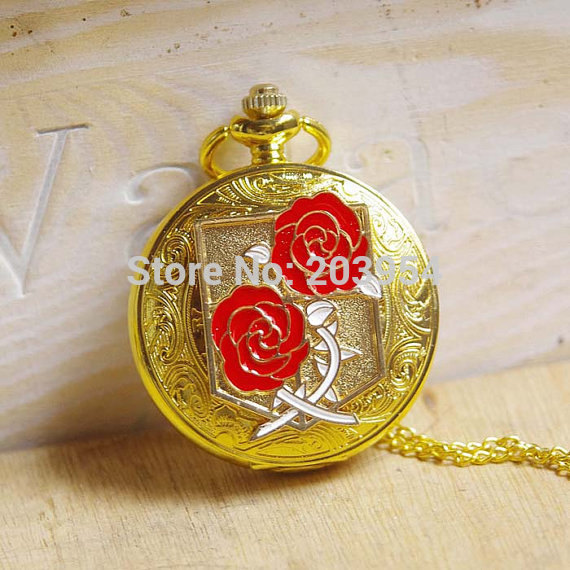 Cartoon Attack on Titan Golden Freedom Wing King Unicorn Guardianrose Pocket Watch quartz 1pcs/lot Necklace pendant wholesale
