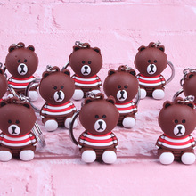 New Cartoon Bown Bear Key chain Animal Fashion Silicone Keychains Woman leather Jewelry Metal keyring Car Bag Pendant charm new cartoon lala kuma bear brown rabbit key chain animal silicone keychains woman leather jewelry metal keyring car bag pendant