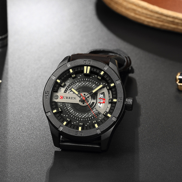 CURREN Luxury Genuine Leather Quartz Wrist Watch 2