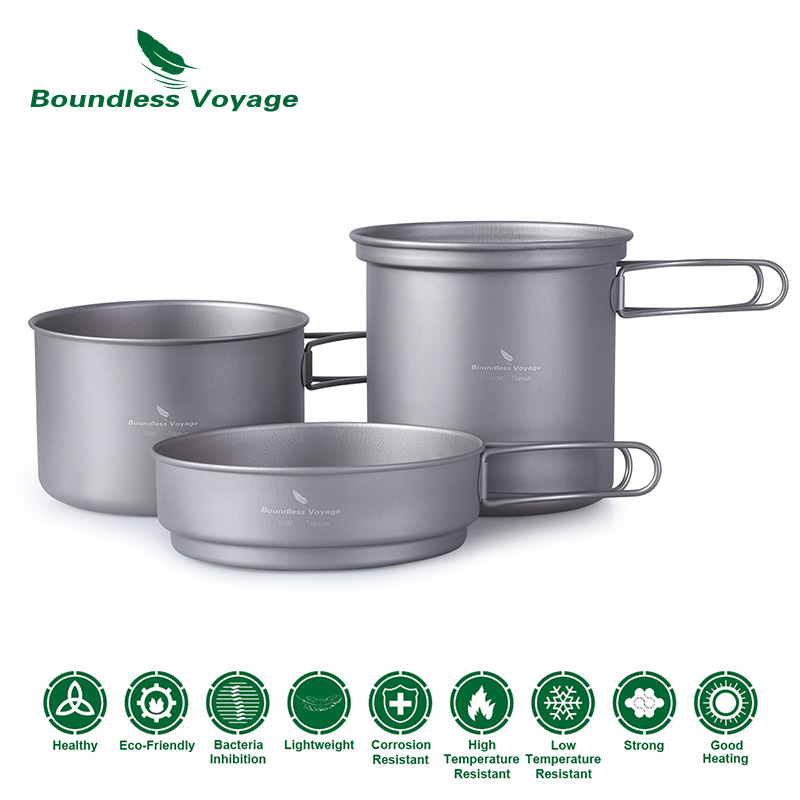 цена на Boundless Voyage Titanium Pot Pan Set with Folding Handle Outdoor Camping Soup Pot Bowl Frying Pan Mess Kit Picnic Cookware