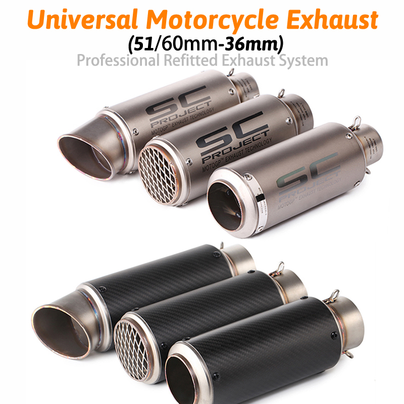Inlet 51mm 60mm Motorcycle Exhaust Pipe Muffler Stainless Steel SC GP Racing Project Exhaust Mufflers Carbon Fiber Exhaust Pipe zs racing 51mm motorcycle exhaust muffler sc gp escape exhaust mufflers carbon fiber exhaust pipe for z1000 z750 z800 ninja250
