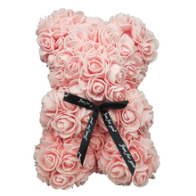 Free Shipping 20cm Rose Teddy Bear Flower Artificial Decoration Christmas Gifts for Women Valentines Gift