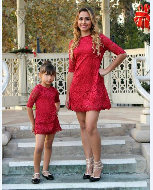 Family Look Matching Mother Daughter Autumn Spring Lace Dress Clothes 2017 New Years Mommy Me Weddings