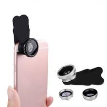 3 в 1 Объективы для мобильных телефонов рыбий глаз широкоугольный Макро комплект объективов для камеры Универсальный зажим аксессуары для фото