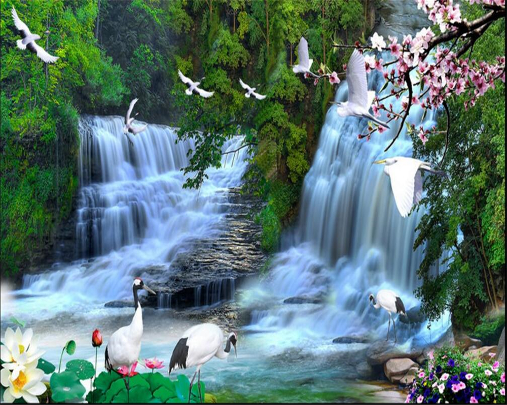 US $8 85 OFF Beibehang Natural Beauty Mountain Water Landscape TV Background Wall Wallpaper For Walls 3 D 3d Room Wallpaper Landscape