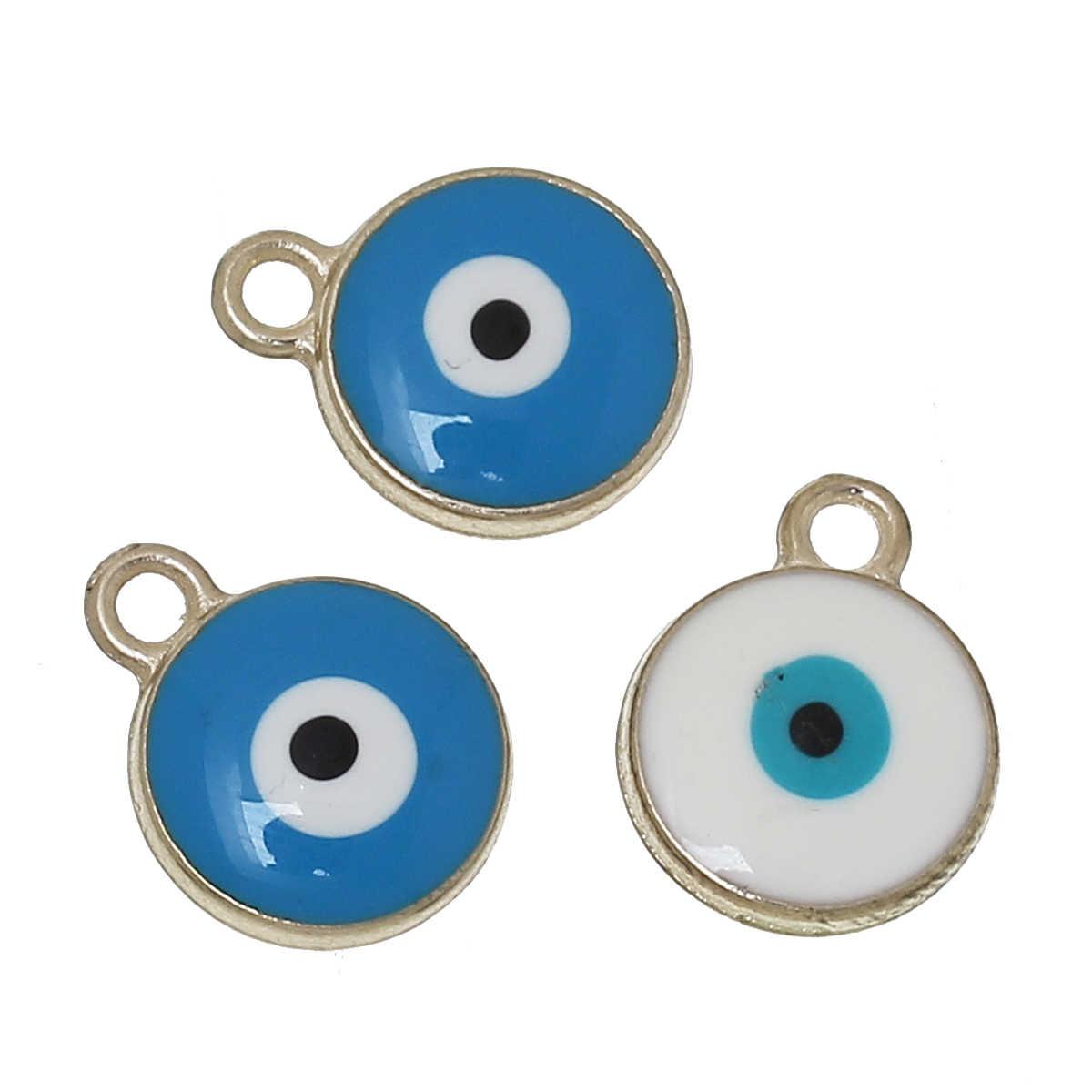 """Doreen b eads สังกะสีโลหะผสมเสน่ห์จี้รอบสีแบบสุ่มตาของความชั่วร้ายแกะสลักเคลือบ 15 มิลลิเมตร (5/8 """") x 12 มิลลิเมตร (4/8 """"), 2 ชิ้น"""