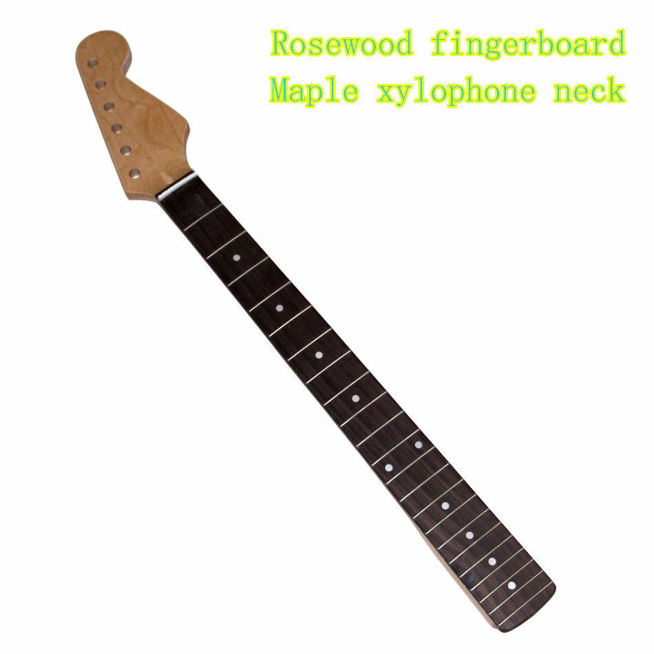 Electric Guitar Neck 22 FRET Maple /Rosewood Inlay Back For ST replacement Rosewood fingerboard Maple xylophone neck acoustic guitar neck fingerboard fretboard for guitar parts replacement rosewood zebrawood veneer