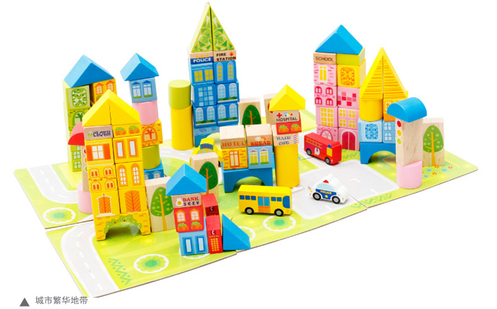 100 Piece City Traffic Wooden Building Blocks Stacking Set Toys For Kids Gift Free EMS MWZ1612 62pcs colored wooden building blocks city traffic scene blocks kids educational toys child diy toys jm19