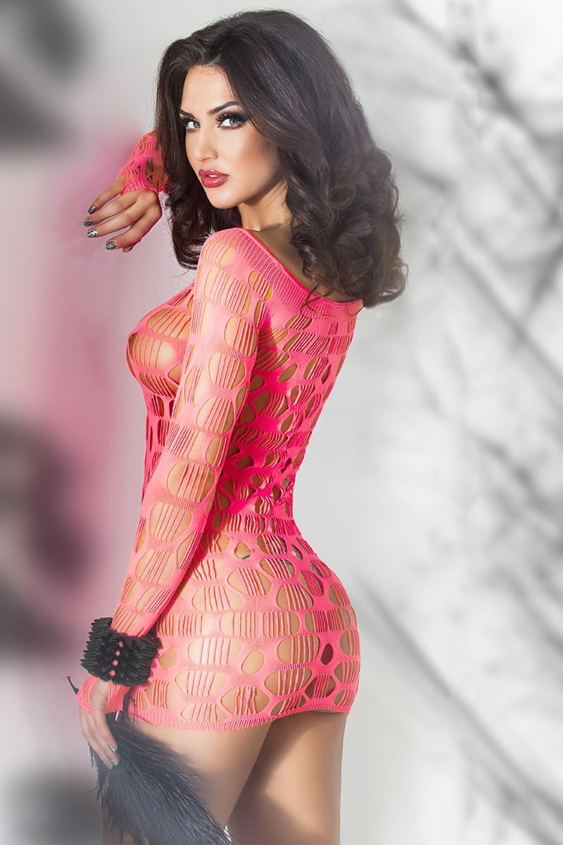 Neon-Pink-Seamless-Mini-Dress-Chemise-LC21540