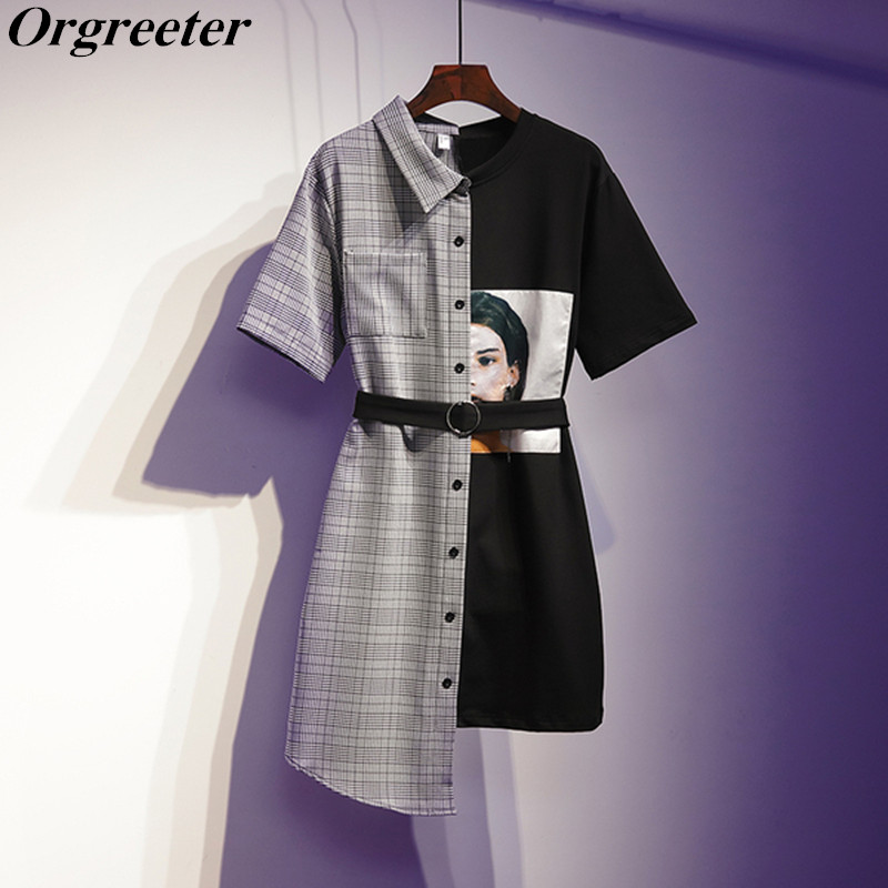 Shirt Dress Female Plaid Patchwork Character Print With Belt High Waist Irregular Knee-length Dresses 2019 Summer New Clothing