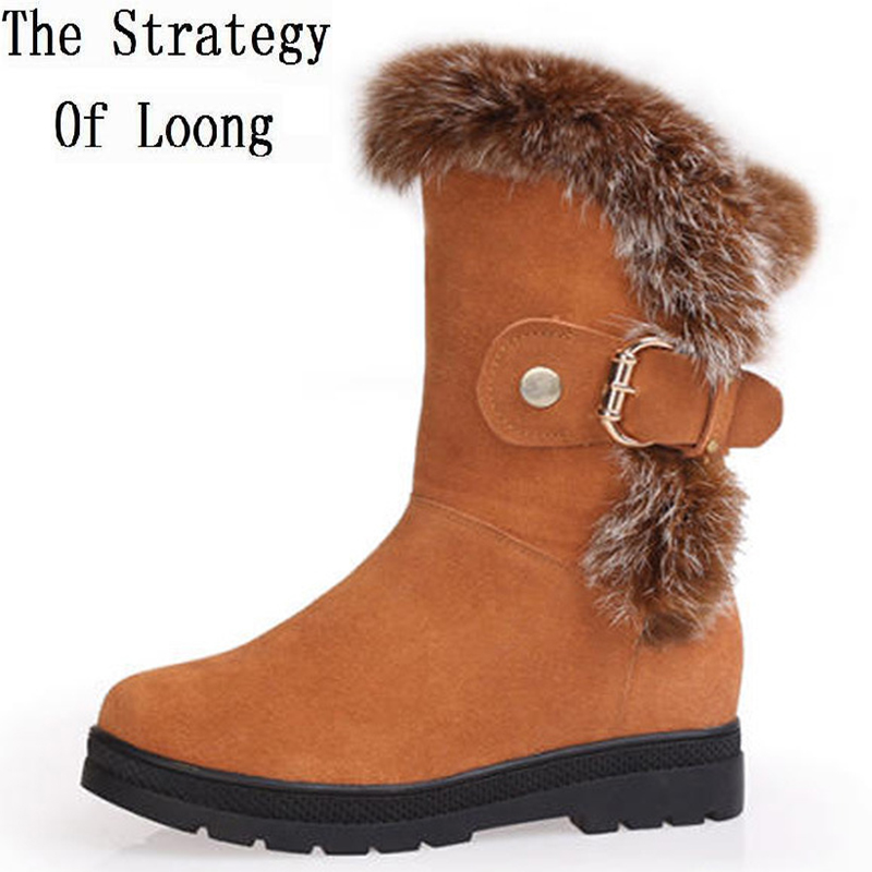 Women Buckle Rabbits Fur Mid Calf Snow Boots Winter Thick Warm Fashion Flat Comfortable Half Boots Non-slip Chunky Sole Shoes zippers double buckle platform mid calf boots