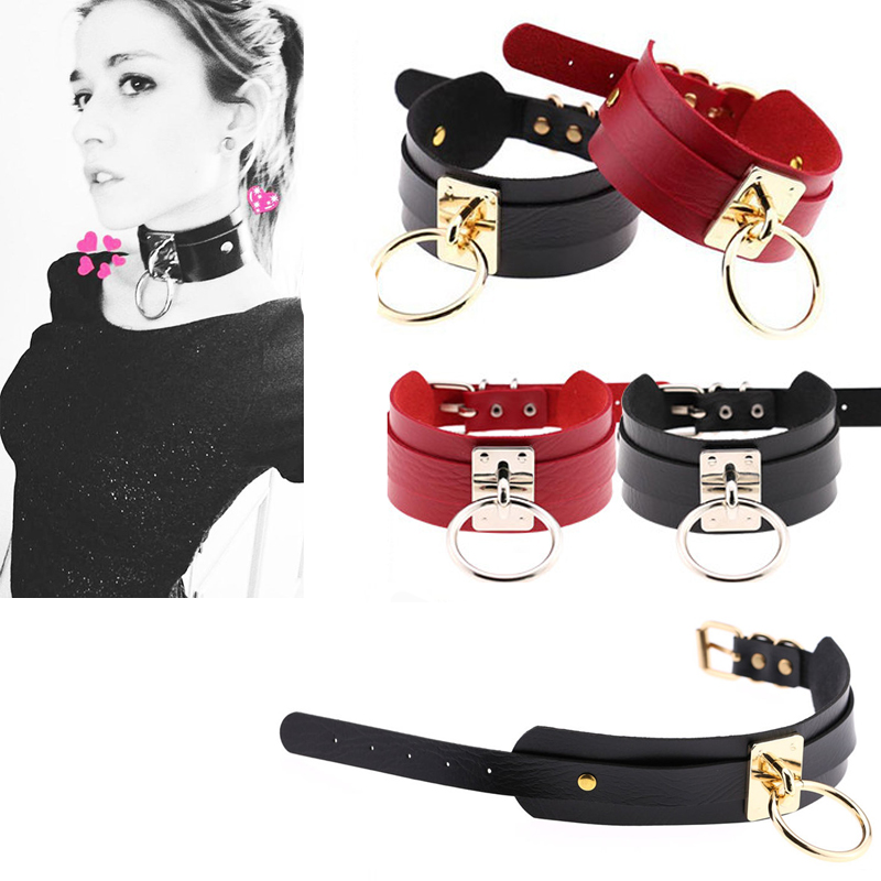Adult Sex Toys Big O Ring Neck <font><b>Collar</b></font> <font><b>BDSM</b></font> <font><b>Slave</b></font> Bondage Fetish Cosplay Adult Games Leather Necklace Erotic Neckband For Woman image
