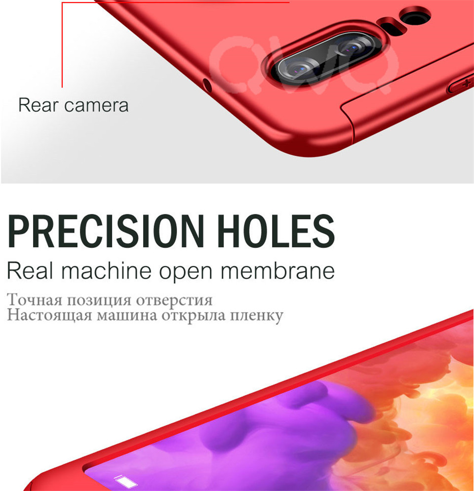 360 Degree Full Protective Phone Case For Huawei P20  P20 Lite P20 Pro Cover Case For Huawei P20 Lite P10 P10 Lite P10 Plus Mate 10 Lite Mate 10 Pro Matte Shell Tempered Glass 12
