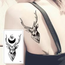 T-001 Black deer high quality temporary tattoo sticker detachable waterproof men and women fake body arm chest shoulder tattoo