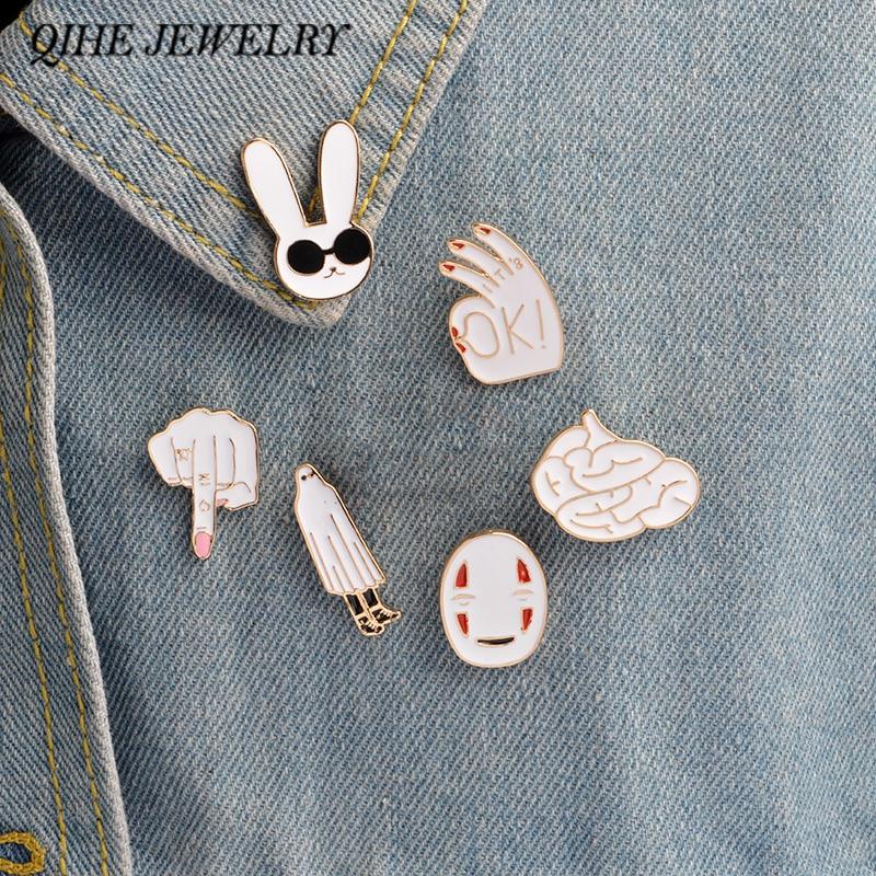 6pcs/set Pins Rabbit mask figure sign brain cute cartoon white pins For women men jacket collar badge jewelry gift