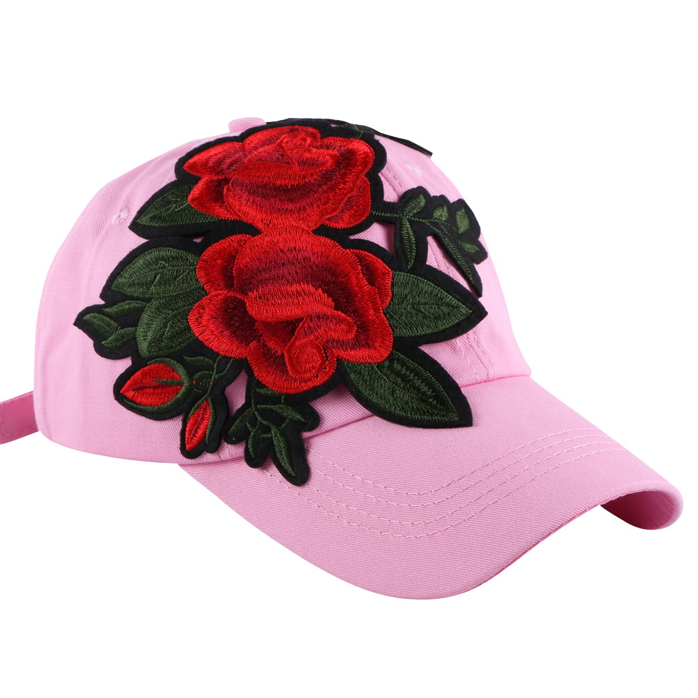 new fashion women girl brand baseball cap hats pink red white colorful denim cotton floral casual woman hat 58 CM sports caps new fashion women beauty baseball cap hat embroidery floral snapback white pink black solid casual casquette girl gorras hats