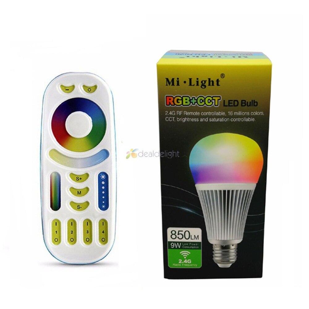 Mi.Light E27 9W RGB+CCT LED Bulb FUT012 2.4G Wireless AC85-265V+4-Zone 2.4G RF Controller+Wifi Ibox2 сольфеджио третий класс