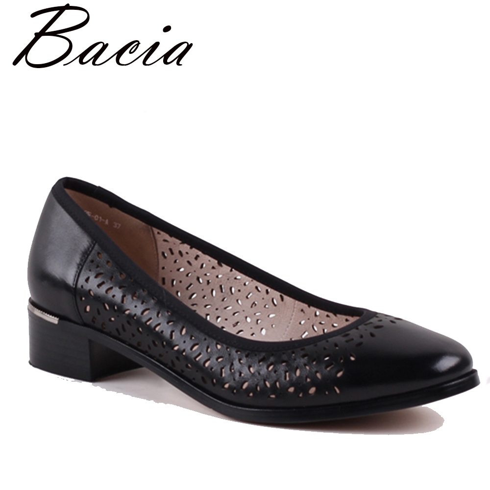 Bacia High Quality Genuine Leather Oxford Shoes For Women Slip-on Office Ladies Shoes Casual Round Toe Heels Women Shoes VXA013