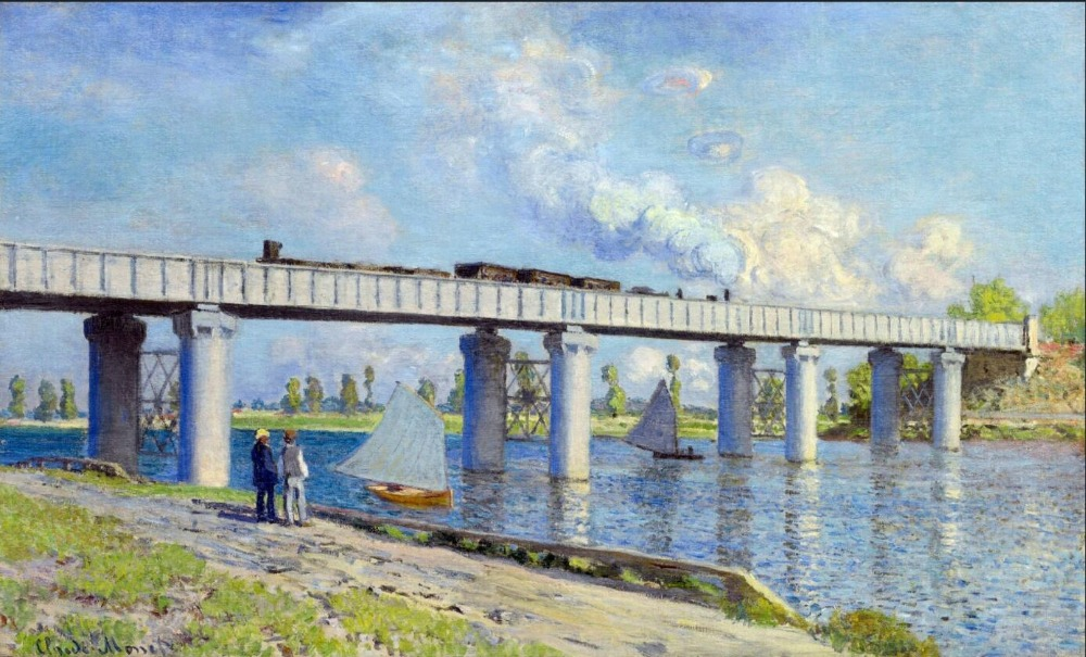 High quality Oil painting Canvas Reproductions Railway Bridge at Argenteuil (1873) By Claude Monet Painting hand painted