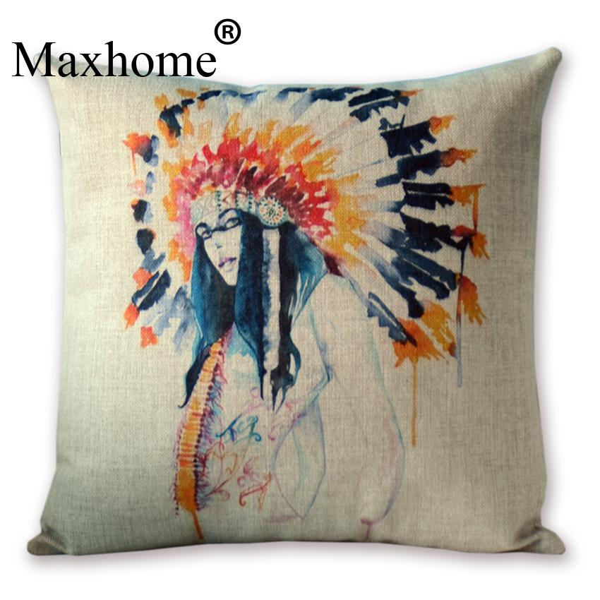 Retro European Architectural Painting Pillowcase Cotton Linen Cushion Home Decor Sofa Throw Pillows Almofada Luxury Sofa Cusions