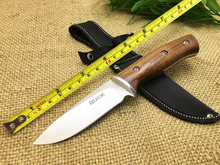 100% New Brand Buck Small Hunting Knife 440 Blade Wood Handle Camping Fixed Knives Multi Outdoor EDC Tools High Quality