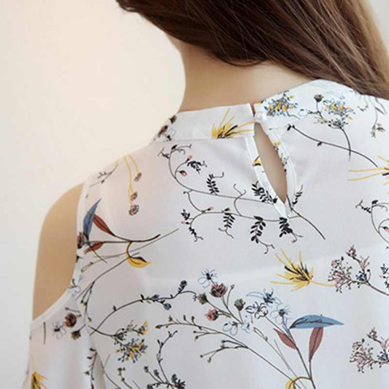 Laamei 2019 Mulheres Fora Do Ombro Manga Curta Blusas Floral Impressão Chiffon Camisas Ocasionais Das Senhoras Vestuário Feminino Blusas Mulheres Tops