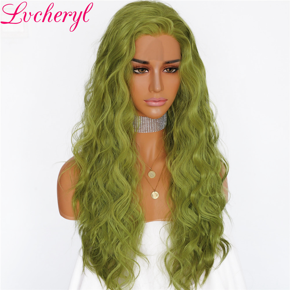 Lvcheryl Light Green Water Wave Cosplay Hair Heat Resistant Gluless Synthetic Lace Front Wigs for Women