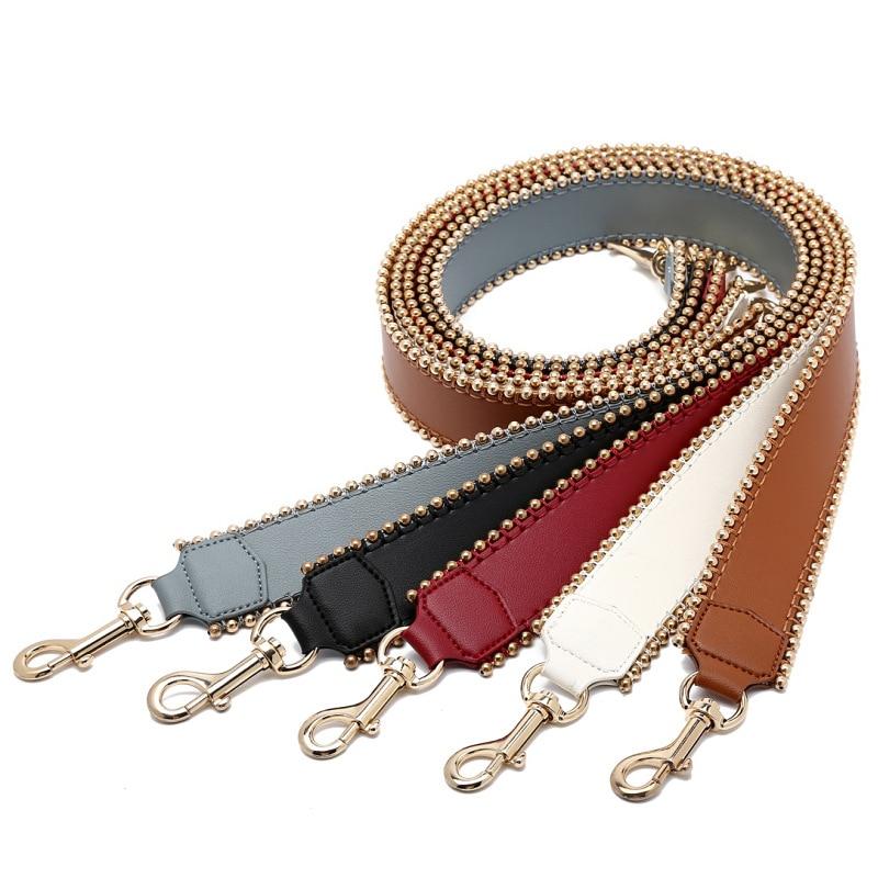 Fashion Brand 105cm Genuine Leather Bag Strap For Handbags Fashion Rivets Wide Shoulder Strap For Bag Handbag Accessories Belt