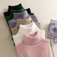 Осенне-зимний черный свитер с высоким воротом, Женский облегающий эластичный вязаный мягкий пуловер, женский свитер, корейский Модный пуловер