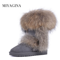 MIYAGINA Natural Fox Fur Women Boots Warm Mid Calf Snow Boots Genuine Sheepskin Leather High Quality