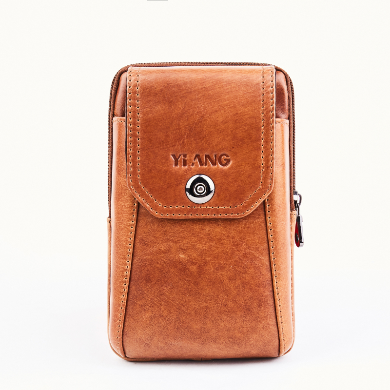 Men Genuine Leather Hip Bum Fanny Waist Pack Bag Loop Purse Business Male Oil Wax Cowhide Hook Belt Pack Cell Phone Case Bags