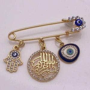 Image 1 - W imię allaha mercifu turecki evil eye hamsa ręka fatimy broszka ze stali nierdzewnej dziecko pin zaakceptować drop shipping