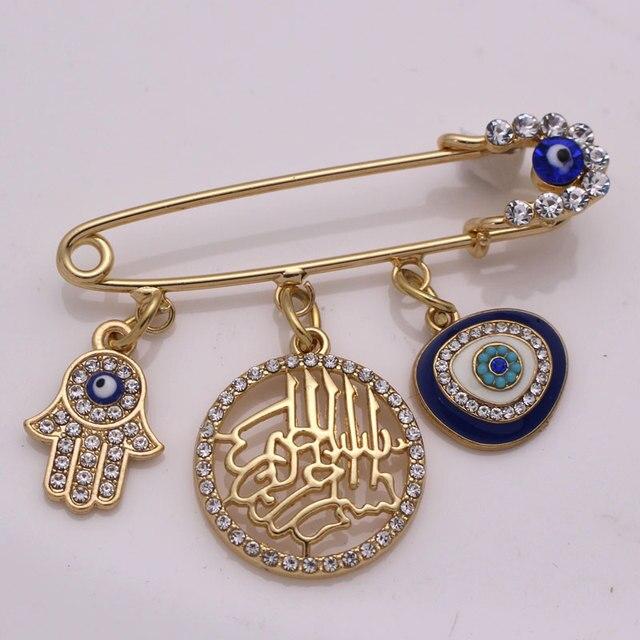 W imię allaha mercifu turecki evil eye hamsa ręka fatimy broszka ze stali nierdzewnej dziecko pin zaakceptować drop shipping
